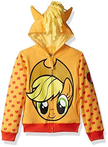 (My Little Pony Girls' Little Apple Jack Costume Zip-up Hoodie, Orange/Yellow)