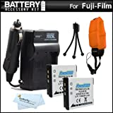 2 Pack Battery And Charger Kit For Fuji Fujifilm FinePix XP200, XP170, XP150, XP100 Waterproof Digital Camera Includes 2 Replacement (1100Mah) NP-50 Batteries + Ac/Dc Charger + Floating Strap + More