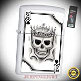2521 Ace of Spades-Skull White Matte Finish Full Size Lighter with Flint Pack - Premium Lighter Fluid (Comes Unfilled) - Made in USA!