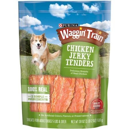Waggin Train Chicken Jerky Tenders Dog Treats - Purina Waggin' Train Chicken Jerky Tenders Dog Treats 18 oz. Pouch, For Adult Dogs 5 lb & over by Waggin' Train