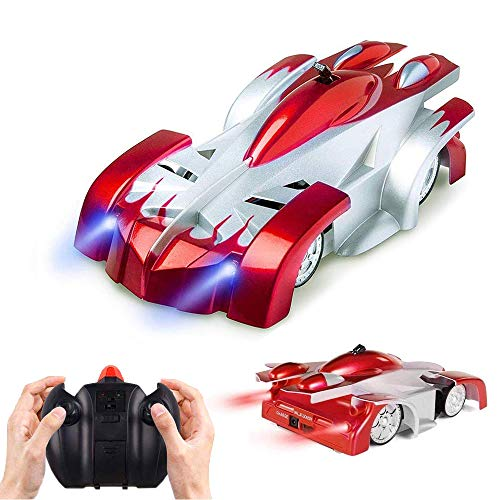 Flywind Wall Racing Car for Kids, USB Rechargeable Remote Control Wall Climbing Car Led Light Dual Mode 360°Rotating Stunt High Speed Gravity Defying Car for 6 Years Old Boys Girls Birthday Gift, Red