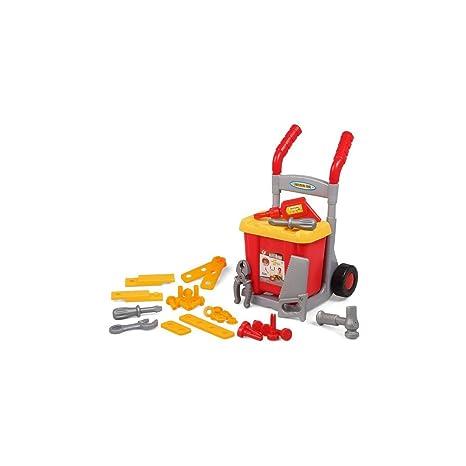 Juguete para niños. Carro de herramientas para jugar. Carro mas 35 herramientas de juguete