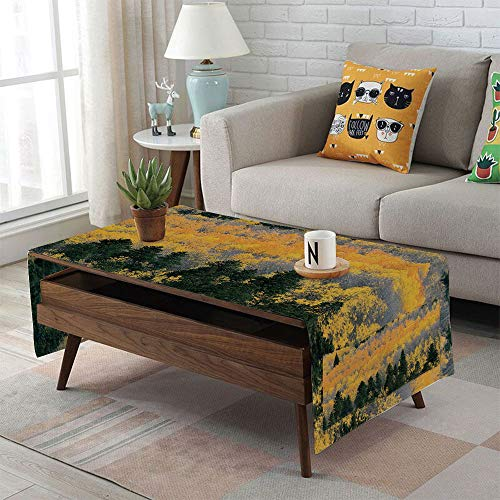 - iPrint Linen Blend Tablecloth,Side Pocket Design,Rectangular Coffee Table Pad,Fall,Colorful Aspen Forest in Colorado Rocky Mountains Western Wilderness USA Theme,Green Yellow Grey,for Home Decor
