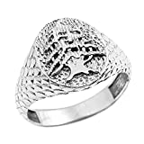 925 Stering Silver Textured Band Lebanese Cedar Tree Men's Ring