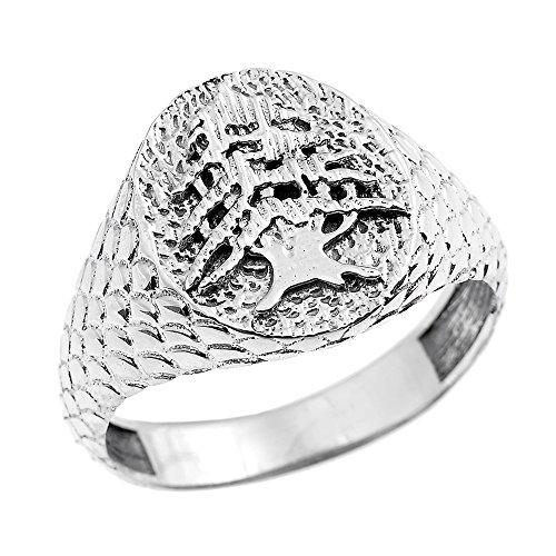 Men's Solid 10k White Gold Textured Band Lebanese Cedar Tree Men's Ring