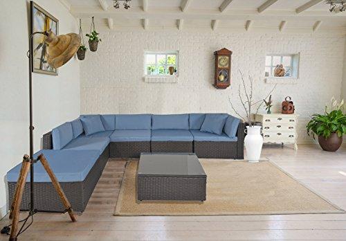 GOJOOASIS Outdoor Patio PE Wicker Rattan Sofa Sectional Furniture Conversation Set with Cushion and Pillow, Steel Frame, Black (7pcs Rattan Sofa Set) (Modular Rattan)