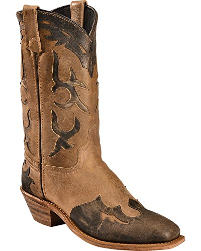 Abilene Women's Boot Distressed Inlay Wingtip Western Square Toe Tan 6.5 M US ()