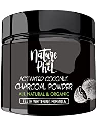 Nature Phil Activated Charcoal Natural Teeth Whitening Powder - Natural Teeth Whitener with 100% Pure Coconut Shells (2.1 Oz, 60g)