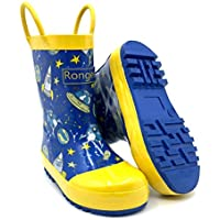 Rongee Toddler Little Girls Boys Kids Rubber Rain Boots with Light Reflective Mark for Safe and Oxford Bag Packed