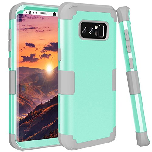 Samsung Galaxy Note 8 case, GPROVA [Slim Fit] [Shock Absorption] 3 in 1 Hybrid Cover Hard PC Soft Silicone Rubber Heavy Duty Shock Absorbing Protective Defender Case for Galaxy Note 8 (Mint+Grey) (Samsung Galaxy Note 4 Speck Case)