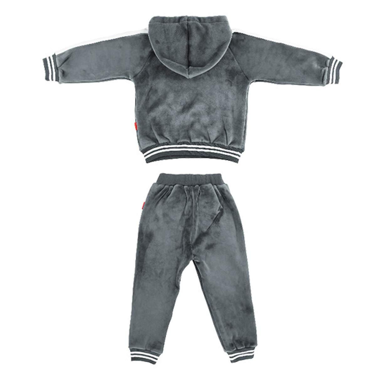 OnlyAngel Boys Sweatsuits Grey Corduroy Hoodie /& Elastic Waist Pants Set Age 4-11