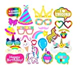 7-gost 25PCS Unicorn Rainbow Pegasus Photo Booth Prop Girl Birthday Party Supplies Decorations On Stick