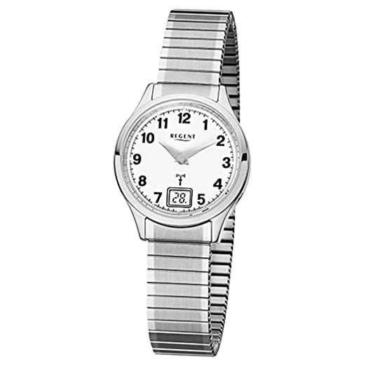 Regent de mujer reloj de pulsera elegante Analog Digital de acero inoxidable reloj de pulsera plata Radio Reloj de esfera blanco urfr210: Regent: Amazon.es: ...