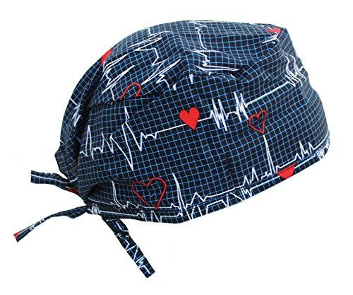 Navy Blue Heart Beat EKG Scrub Cap with Adjustable tie