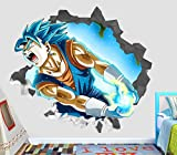Dragon Ball Z Goku Super Saiyanjin Power Wall Decal Smashed 3D Sticker Vinyl Decor Mural Movie Kids - Broken Wall - 3D Designs - OP597 (Giant (Wide 50'' x 46'' Height))