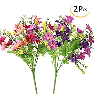 Mayitr Daisy Artificial Flowers Multicolor Fake Flowers Bouquet Decoration for Office Bedroom Wedding Party 29