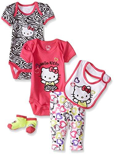 - Hello Kitty Baby 5 Piece Gift Set with Zebra Heart Print, Fuchsia Purple, 0-3 Months