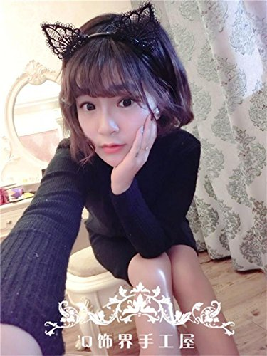 Generic Orecchiette cute for everyday wear can Ailei Si headbang hair bang head hoop lace cat ears headband hair accessories jewelry Catwoman