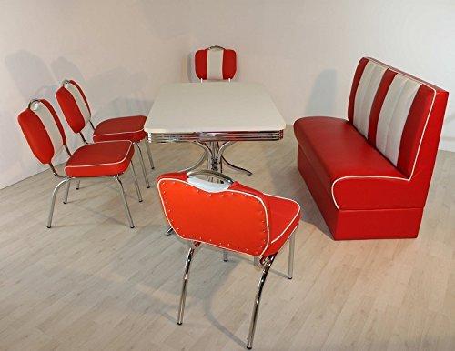 Dinergruppe Dinertisch Stuhl Sue in Rot Edelstahl American Diner Dinerlook 50er