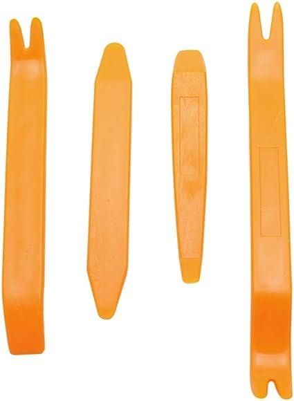 Set of 4 pcs Orange Interior Car Dashboard Door Plastic Pry Panel Molding Clip Trim Open Tool Kit Removal Installation For BMW Audi Volkswagen Chevrolet