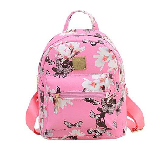 Women Girls Mini Backpack Fashion Causal Floral Printing Leather Bag by BiggerStore