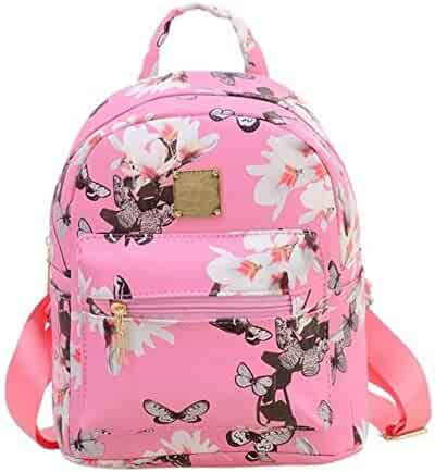 Women Girls Mini Backpack Fashion Causal Floral Printing Leather Bag 8e26e2b063