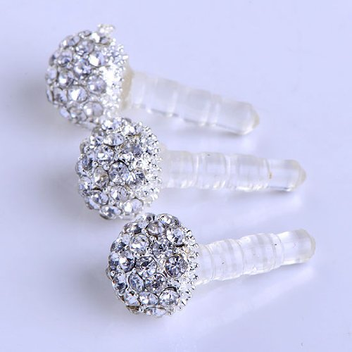 3.5mm Clear Crystal Ball Earphone Ear Cap Anti Dust Plug Cover for Iphone4/4s 3g Better Deals
