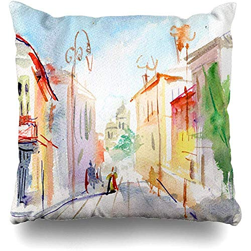 Throw Pillow Cover Color Paris Parisian Street Watercolor Sketch Red City Paint Ist Artistic Design Home Decor Square 18x18 Inch Inch Cushion Case]()