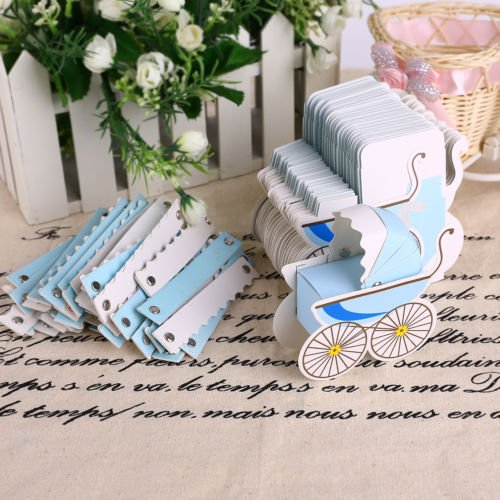 The Pecan Man Wedding Party Favor Baby Carriage Stroller Favor Gift Wrap Boxes Shower Party CandyBlue - You Thank Wedding Keychains