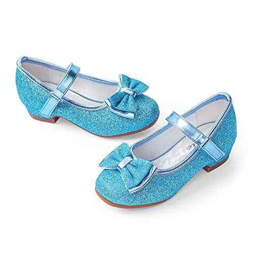STELLE Girls Mary Jane Glitter Shoes Low Heel Princess Flower Wedding Party Dress Pump Shoes for Kids Toddler(Blue, 12ML)