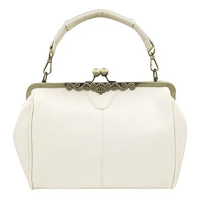 c0a92ec2a9 Donalworld Women Retro Hollow out PU Leather Shoulder Handbag Beige ...