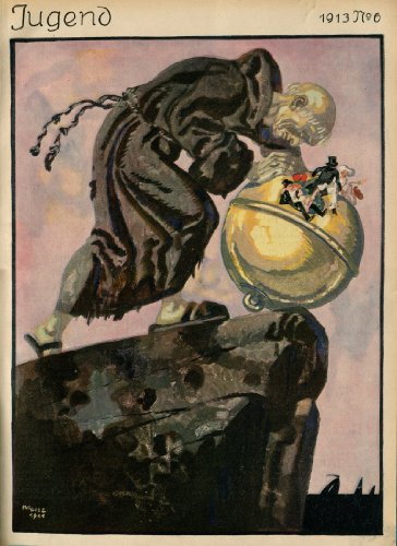 1913 Jugend Cover Print Monk pushing Globe Over Rock in Sea by Julius Diez (Diez Globe)