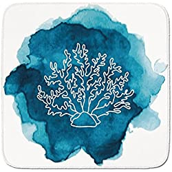 Cozy Seat Protector Pads Cushion Area Rug,Aquarium,Watercolor Stain Dot with Coral Icon Artistic Sea Inspired Design Decorative,Light Blue Dark Blue White,Easy to Use on Any Surface