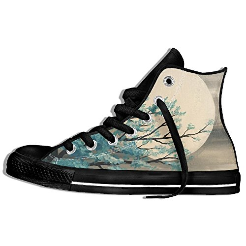 Classic High Top Sneakers Canvas Shoes Anti-Skid Tree Moon Paint Casual Walking For Men Women Black CtBDqwLY3