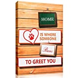 FESTAPRINT Canvas Home Is Where Someone Runs To Greet You Wall Art Prints Stretched on Frame for Home and Office Decor
