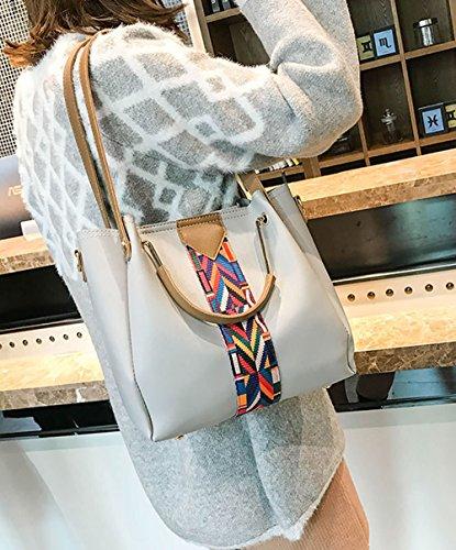 de hombro Bolsos clutches Shoppers Set mano Carteras de bandolera 3pcs y y Gris bolsos Mujer 8nanU