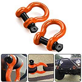 """RUGCEL Shackles 3/4″ (2 Pack) D Ring Shackle Rugged Off Road Shackles 28.5 Ton (57,000 lbs) Maximum Break Strength with 7/8"""" Pin Heavy Duty D Ring for Jeep Vehicle Recovery, Orange"""