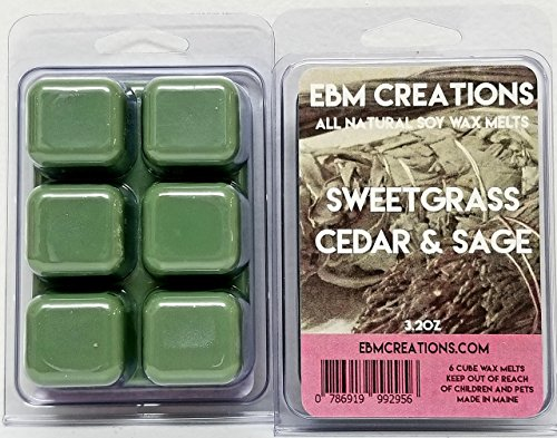 Sweetgrass Cedar & Sage - Scented All Natural Soy Wax Melts - 6 Cube Clamshell 3.2oz Highly Scented!