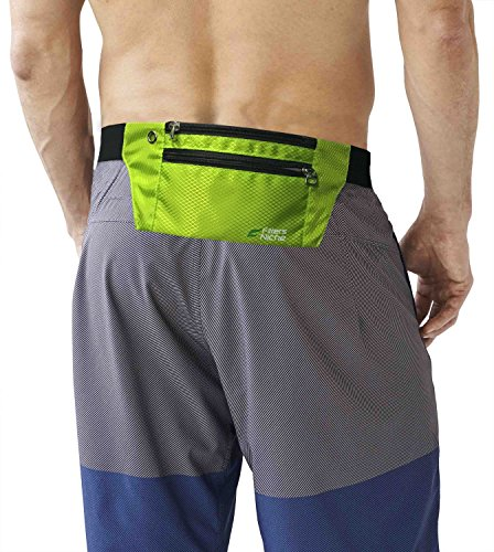 fitter's niche Waist Fanny Packs, 3 Pockets Travel Money Bag, Water Resistant Elastic Adjustable Belt, Fits IPhone X 8 7 Plus, Idea for Outdoor Cycling Hiking Jogging, Greenery -