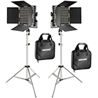 Neewer 2-Pack 660 LED Video Light with 78.7-inch Stainless Steel Light Stand Kit: Dimmable Bi-color LED Panel with U Bracket, Barndoor(3200-5600K,CRI 96+) for Studio Portrait,YouTube Video Photography