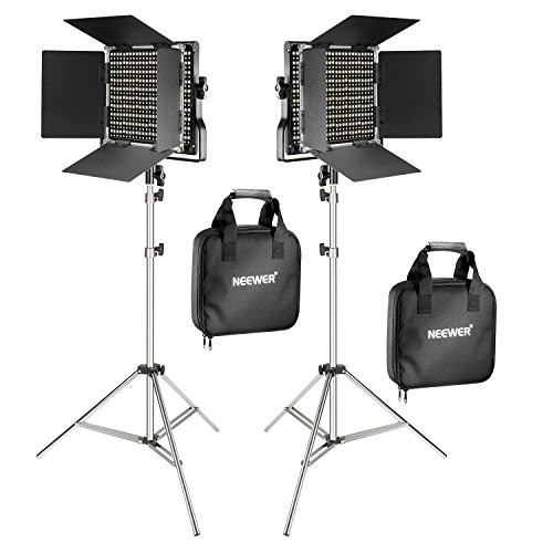 - Neewer 2-Pack 660 LED Video Light with 78.7-inch Stainless Steel Light Stand Kit: Dimmable Bi-color LED Panel with U Bracket, Barndoor(3200-5600K,CRI 96+) for Studio Portrait,YouTube Video Photography