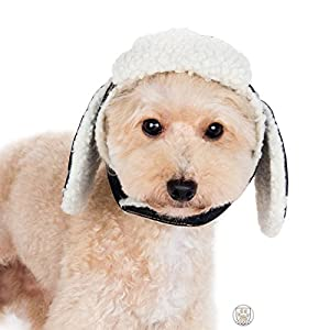 Shearling Denim Trapper Hat with Ear Flaps and Pin for Dogs - in Sizes XS to XL - Color Denim Blue (XL, Denim Blue)
