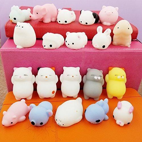 20 Animal (Mochi Squishy Toys , Sackorange 20 PCS Mini Animal Squishies Mochi Squeeze Toys Soft Squishy Stress Animal Toys Kawaii Animal Squishy Mini Cat Squishies with Gift Bag)