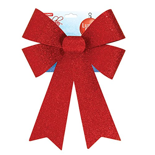 Red Glitter Bow For Holiday season, Christmas and Valentine decorations - Size: 9'' X 15'', 2 pc