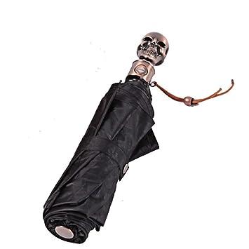 Yanj Paraguas Impreso Ligero Plegable Totalmente Automático El Esqueleto Halloween A Prueba De Viento Cubriendo La