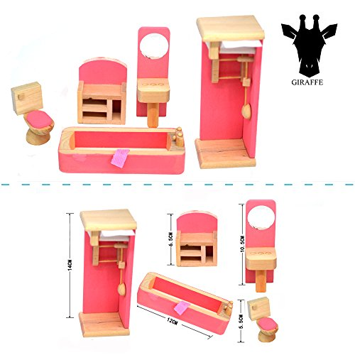 Giraffe 4 Set Pink Wooden Dollhouse Furniture Miniature Bathroom Kid Room Bedroom Kitchen