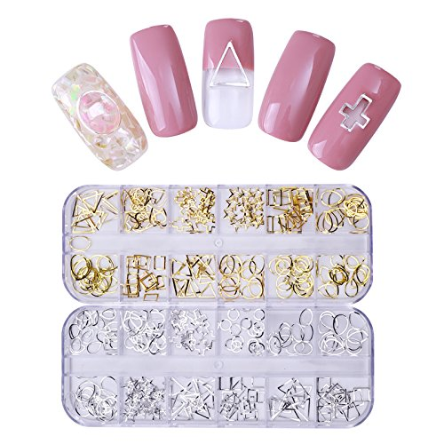- NICOLE DIARY 2 Boxes Hollow Nail Stud Silver Gold Metal Rivets Cross Triangle Square Studs DIY Manicure 3D Nail Art Decoration (2 colors)