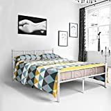 Metal full size bed frame, Yanni ADRINA 10 Legs Platform Metal Mattress Foundation / Box Spring Replacement with Headboard and Footboard, Under-bed Storage, Enhanced Sturdy Slats, White