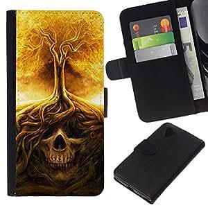 Be-Star la tarjeta de Crédito Slots PU Funda de cuero Monedero caso cubierta de piel LG Nexus 5 D820 D821 ( Fire Tree Skull Meaning Death Metal )