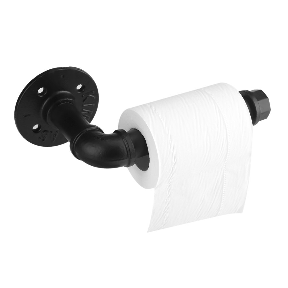 Aufee Toilet Paper Holder, Iron Black Toilet Roll Holder Single-Post Design Use for Bathroom Kitchen